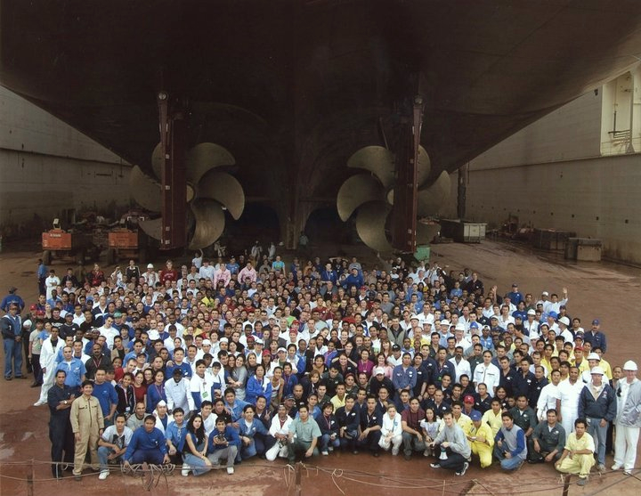 Full cast and crew of the Disney Wonder, underneath the ship during dry-dock.
