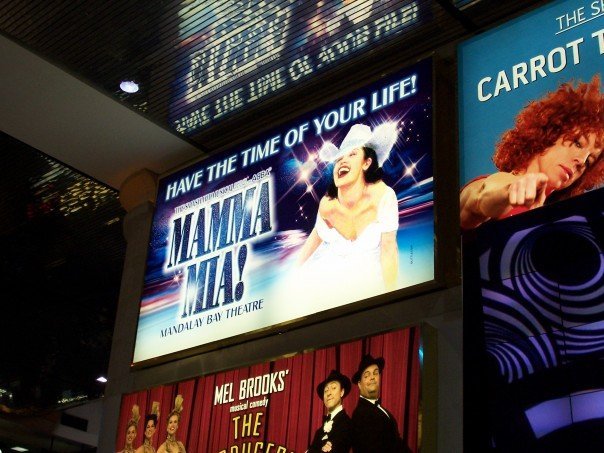 The Mamma Mia! sign in the Las Vegas Airport