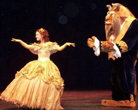 Belle and the Beast during the stage show 'Disney Dreams.'