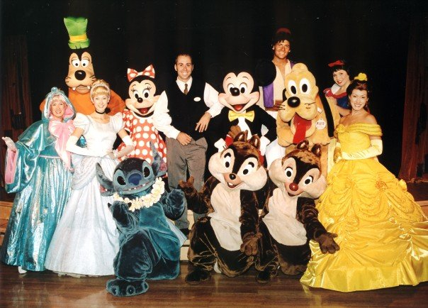 Costumed characters of the Disney Wonder, including Princess Belle.